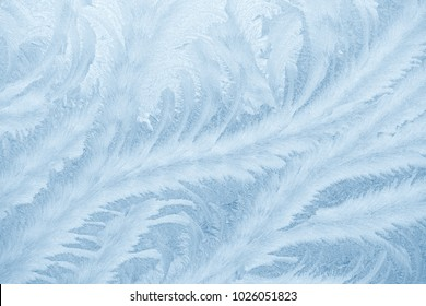 Frost patterns on window glass in winter. Frosted Glass Texture. Blue