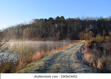 Frost and steam fog on a spring morning in Mississippi