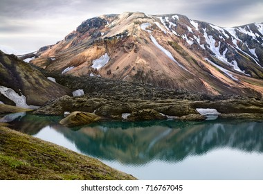 Frostastadarvatn lake, lava field and mountains in Landmannalaugar, Iceland