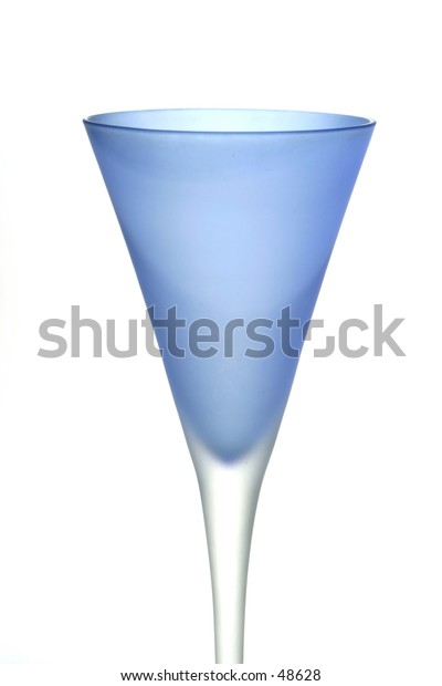 A frosted blue wine glass isolated against a white background.