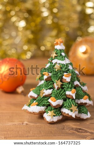 Frosted Gingerbread Cookies Stacked Christmas Tree Stock Photo Edit