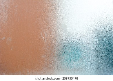 Frosted glass texture with steam & water drops