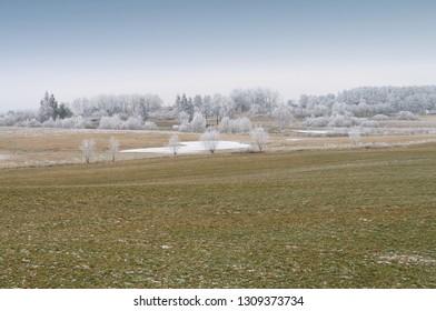 frosted, rural landscape