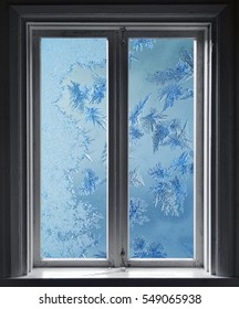 Frosted window, frost on glass