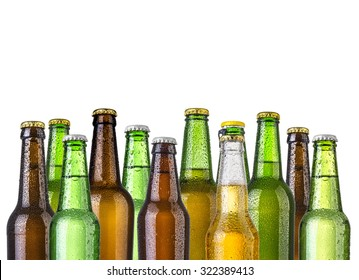 Frosty bottles of beer isolated on a white background