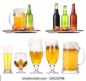 Frosty fresh beer set with foam background