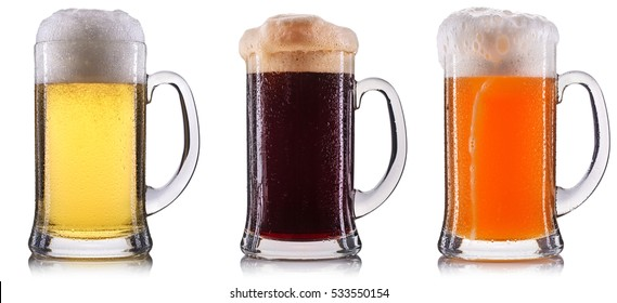 Frosty glass of beer isolated on a white background.