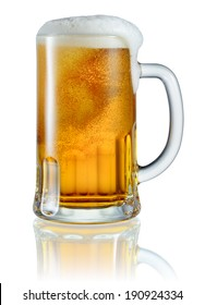 Frosty glass of light beer isolated on a white background. Clipping path