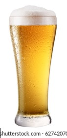 Frosty glass of light beer isolated on a white background. File contains clipping path.