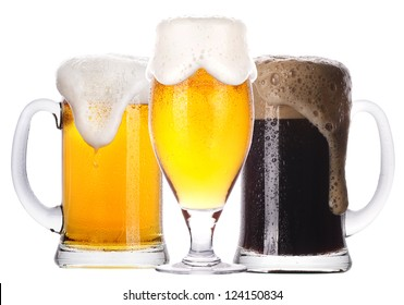 Frosty glass of light and dark beer set isolated on a white background
