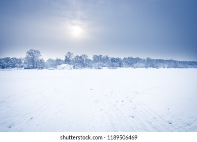 Frosty morning winter snow field landscape with distant forest on horizon in cold frost winter day in soft blue color