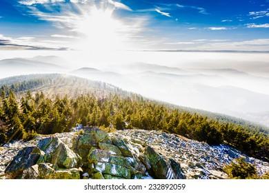 Frosty mountain landscape