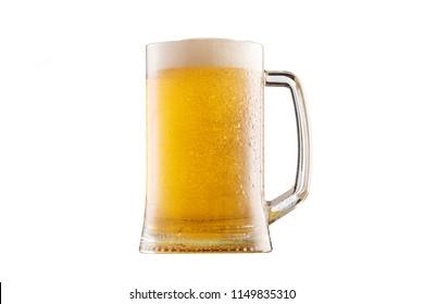 Frosty mug of beer isolated on white background.
