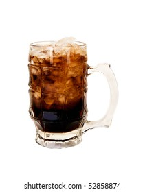 A frosty mug of root beer with ice to quench your thirst.