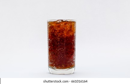 Frosty mug of root beer with ice on white