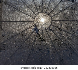the frosty patterns on the window