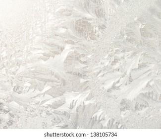 Frosty patterns on window glass