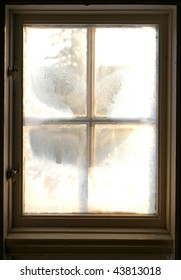 Frosty window. From the inside looking out.
