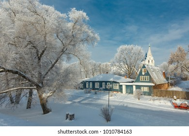 Frosty winter day in Suzdal, Russia. Suzdal is part of the tourist route called the Golden Ring of Russia.