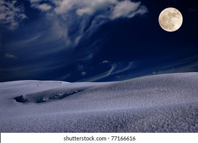 Frosty winter night with fool moon in the sky