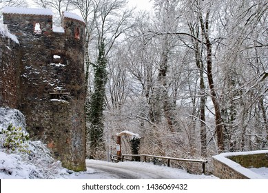A frosty winter scene at Castle (Burg) Frankenstein, a hilltop castle overlooking the city of Darmstadt, Germany in Hesse. This castle may have been an inspiration for Mary Shelly's book.