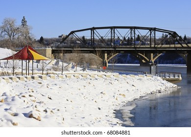 Frosty winter wonderland along the river