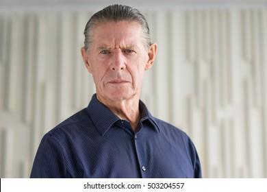 Frown Serious Angry Senior Man Looking at Camera