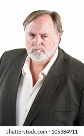 Frowning angry caucasian man with over background