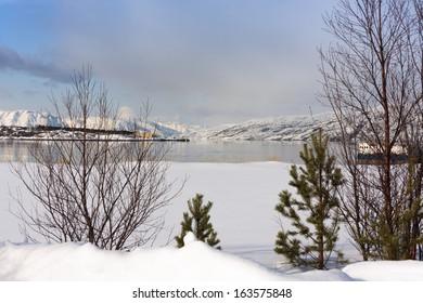 Frozen Arctic Ocean at Alta, Northern Norway