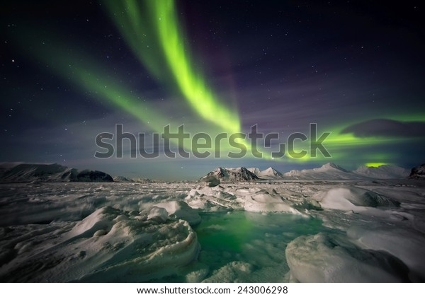 Frozen Arctic world with Northern Lights on the sky