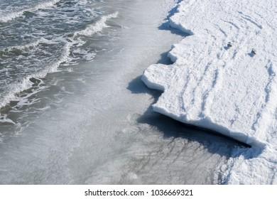 Frozen Baltic Sea Shore on a cold Winter Day