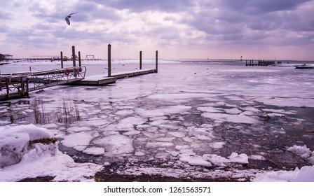 A frozen beach in Connecticut