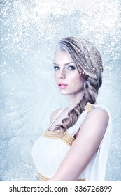Frozen beautiful young woman fashion winter portrait
