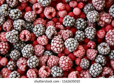 Frozen berries used as background