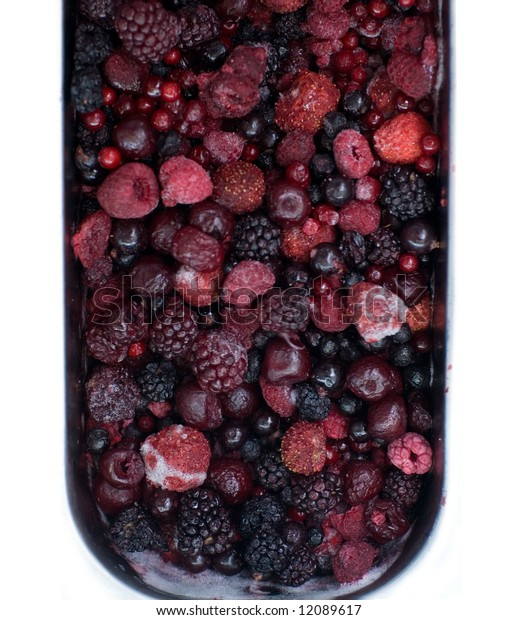 frozen berry in an ice of market
