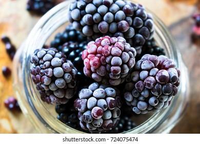 Frozen Blackberries Close Up