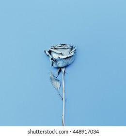 Frozen Blue Rose. Minimalism fashion art.