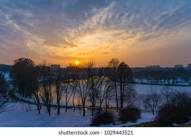 Frozen blue sunset over a lake in Bucharest, Romania