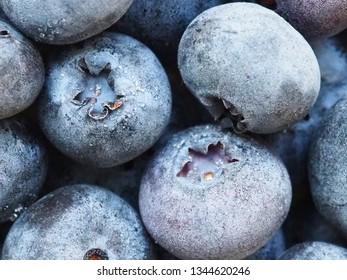 Frozen blueberries close up view