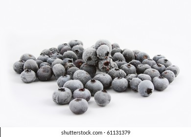 Frozen Blueberries on white background