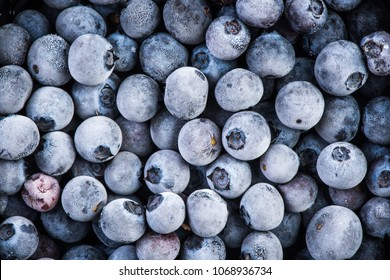 Frozen blueberry fruits, close up, top view, full frame.