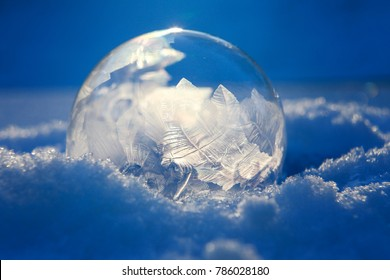 Frozen bubble with ice crystals