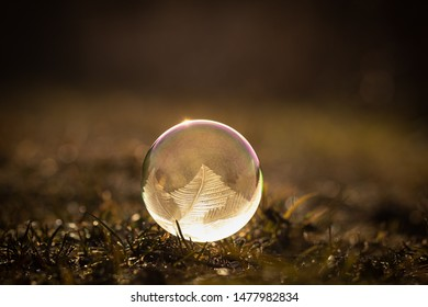 Frozen bubble sitting on a grass during cold spring sunrise. Amazing pattern on a bubble with sun reflecting the light coming through.