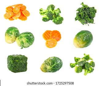 Frozen carrot, spinach, brocolli and brussels cabbage , isolation on white