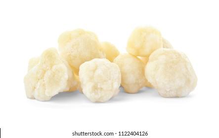Frozen cauliflower on white background. Vegetable preservation