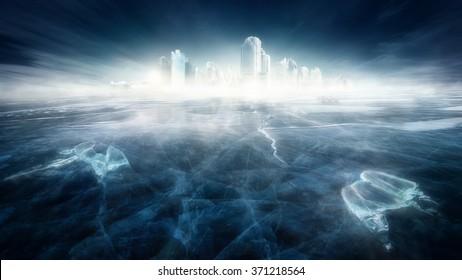 Frozen city in icy landscape