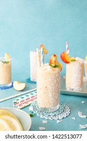 Frozen cocktail with coconut milk  and fresh peach