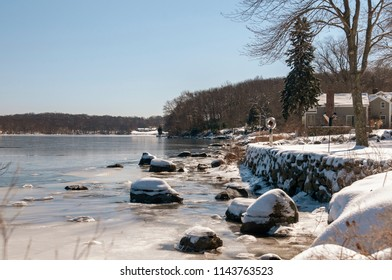 Frozen Connecticut River on bright winter day