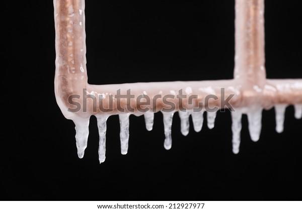 A frozen copper pipe