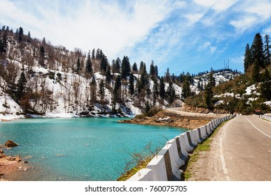 Frozen crystal blue lake and snowy woodland in winter Georgia. Shaori lake, Racha. Caucasus. Colorful vibrant outdoors on a sunny day